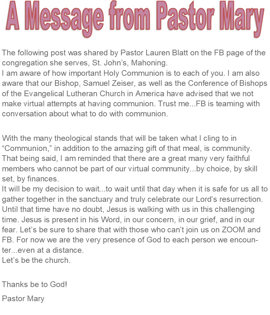Message from Pastor Mary